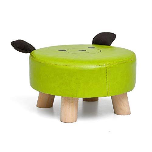 IAIZI Kleiner Fußhocker Medium Ottoman Sitz Echtholz Beine Große Hocker Fußstütze für die Couch (Color : Green) -