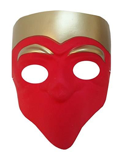Widmann Maske für Kostüm - Verkleidung - Karneval - Halloween - Theater - Klassisch - Venetian Art - Neapolitanisch - Rot - Erwachsene - Unisex - Frau - Mann - Jungen