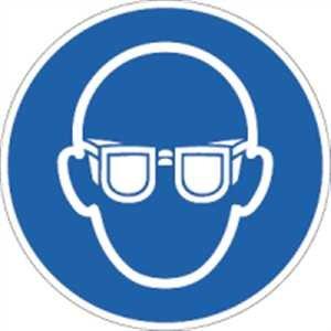 Aufkleber Augenschutz benutzen nach ISO 7010 5cm Ø Folie, 10 Stück