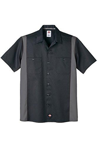 Dickies Two Tone Panel retro Rockabilly Workshirt Hemd Charcoal Grau