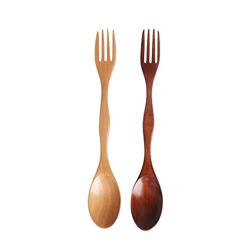 TXIN 2 Stücke Holzbesteck, 2 in 1 Holzgabel Mit Holzlöffel Suppenlöffel Teelöffel Kaffeelöffel Salat Obst Gabel Natürlicher Hölzerner Geschirr Mehrfarbig -