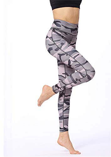 FDHNDER clothes Yogastunde-Die Leggings -Laufhose Damen-Sporthose Fitnesshose-Leggins Stretch-Hose Lauf-Tights Camouflage Bedruckte Leggings High Waist Cropped Pants, grau-grün, L (Cropped Set Green Pant)