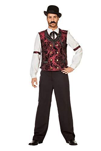 Saloon Männer Kostüm - Wildwest Saloon Barkeeper Herren Kostüm Hemd mit Binder und Weste Cowboy Western, Größe:54