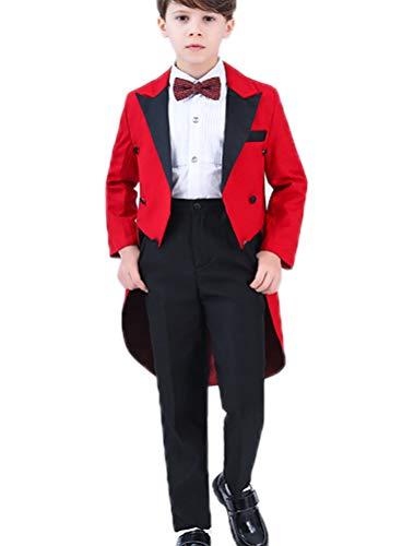 ARAUS Jungen Tuexdo 4 Stück Rot Jacke+Hose+Hemd+Fliege Aufführung Formall Smoking Party Cosplay (Tuxedo 4 Stück Kostüm)