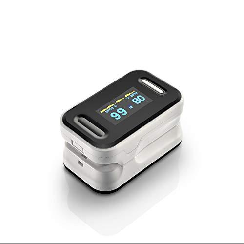 KJHG Fingerspitzen-Pulsoximeter SPO2 PR Fingerpulsmonitor-Oximeter - zweifarbiges, gut lesbares OLED-Display,White