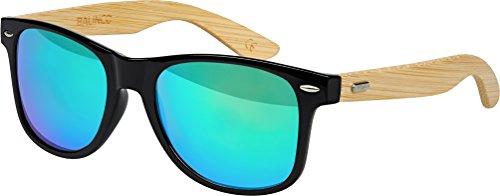 Hochwertige Bambus Holz Nerd Sonnenbrille Rubber im Wayfarer Stil Retro Vintage Unisex Brille mit Federscharnier - 9 verschiedene Farben/Modelle wählbar (Bambus - Grün verspiegelt)