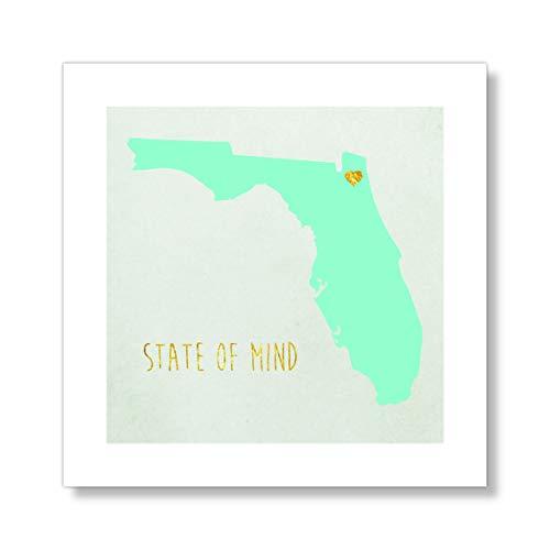 Casa Fine Arts Jacksonville Florida Mind Gold Flagge der USA Typographie Landkarte Städte Archival Kunstdruck Blau Modern 10
