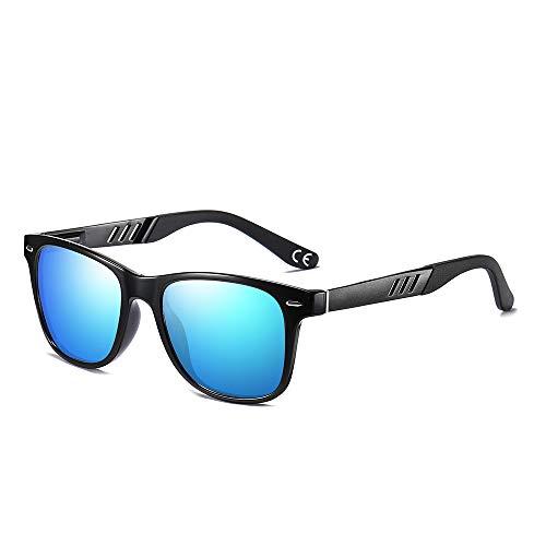 BLEVET Retro Herren Polarisierte Sonnenbrille Fahrer Brille UV400 Schutz BX011 (Black Frame Ice Blue Lens)