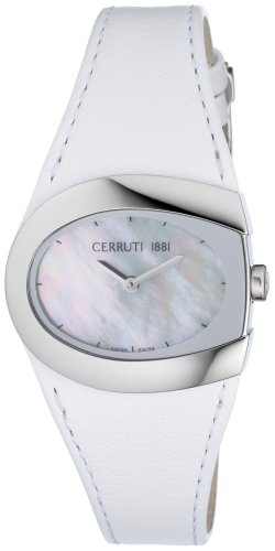 Cerruti 4204930 - Reloj analógico de mujer de cuarzo con correa de piel blanca - sumergible a 30 metros