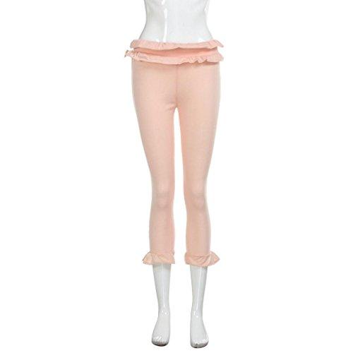 Ultra Donna Leggings- Luoluoluo Donna Capri Leggings 3/4 Allenamento Opaco Yoga Fitness Spandex Palestra Pantaloni ,Stretch Lunghezza Caviglia Yoga Pantaloni Matita Pantaloni Pink