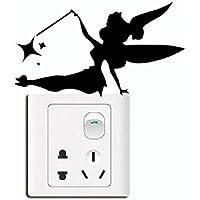 Wenquan,Creative Fairy Silhouette Light Switch Sticker Vinilo de Pared de Vinilo de Dibujos Animados(Color:Negro,Size:7.2 x 13 cm)