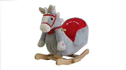 Sweety Toys 7059 Schaukelpferd PIPPER grau mit rotem Zaumzeug