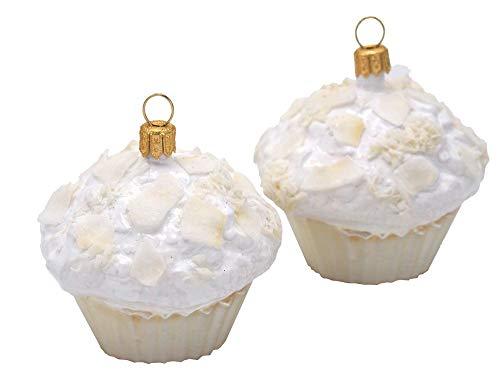 Unbekannt 2X Muffins Cup Cakes Glas Christbaumanhänger Weihnachten Baumanhänger Weihnachtskugel Deko Bäckerei