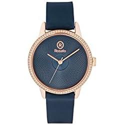 Uhr Rosé Damen rwro06Quarz (Batterie) Stahl Quandrante blau Armband Leder
