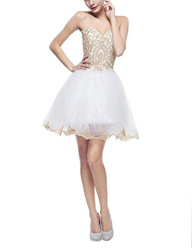 CoutureBridal® Robe Bustier Robe Courte de Soirée Cocktail Bal en Tulle Blanc