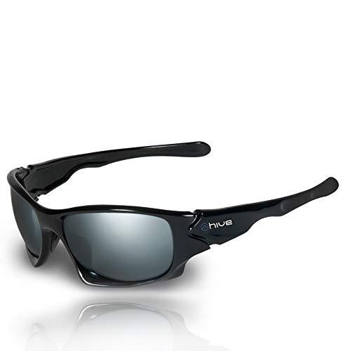 Hive - polarisierte Sonnenbrille verspiegelt - UV400 - Kat. 3 - Black Version + Tasche