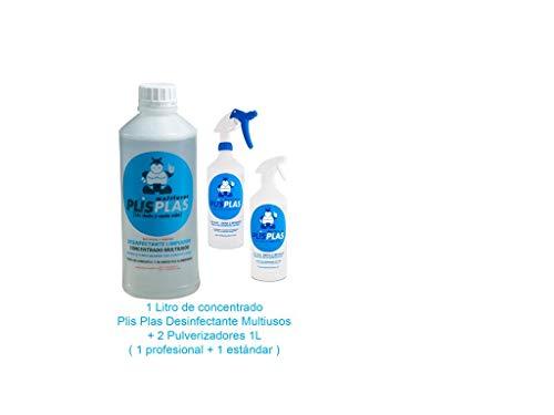 PLIS PLAS Desinfectante Concentrado Multiusos H.A. Potente limpiador desengrasante quitamanchas-cocinas,baños,tapicerias,suelos antideslizantes,marmol,piedra,madera,etc. 1L+2 PULVERIZADORES.