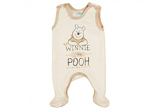 (Jungen / Mädchen BABY-STRAMPLER Winnie the Pooh ÄRMELLOS mit Füßchen, GEFÜTTERT, Spiel-Anzug mit Druckknöpfen, BABY-SCHLAFANZUG, Grösse 56, 62, 68, in beige, grau, blau, rosa Farbe Beige, Größe 62)