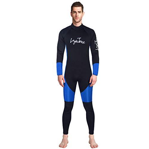 EUCoo_ Wetsuit Neoprenanzug FüR Herren Fortgeschrittener Overall 3mm Wassersporttraining Grundlegende Tauch Surfbekleidung (Blau, S)