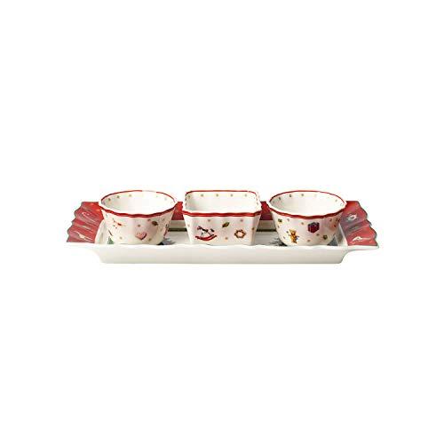 Villeroy & Boch Toy's Delight Set para Salsas, 4 Piezas, Porcelana Premium, Blanco/Rojo