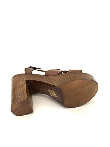 Sandali con tacco alto e plateau in pelle made in italy plateau MainApps Cuoio