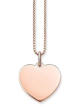 Thomas Sabo Damen-Kette mit Anhänger Coin Herz 925 Sterling Silber rose vergoldet Länge 42 cm SET0399-415-40-L42v