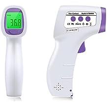 LinkHealth 3 en 1 infrarrojos sin contacto termómetro del cuerpo Ultra Rápido de alarma Un segunda lectura tres colores para el bebé adulto y niño Medidas de frente / de habitaciones / líquido / temperatura de la superficie del objeto, rápida y precisa lectura