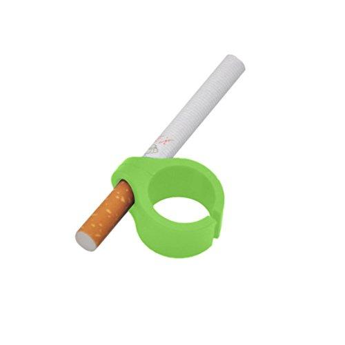 Familizo Soin du Tabac au Doigt en Silicone, Cigarette de Support de Main de Doigt D'anneau de Silicone Pour Fumeur Régulier (Vert, Diamètre pour la cigarette:8mm)