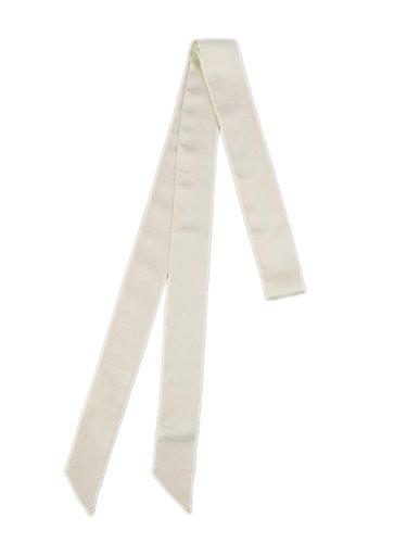 prettystern 200cm Schmal 2-lagig Satin Seide Damen Krawattenschal Skinny Scarf Tuch Seidenband Seidenschal - Weiß