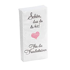 in due 10 x 10 Taschentücher 'Schön, DASS du da bist – Für die Freudentränen' Taupe-ROSA zur Hochzeit, Taufe oder…