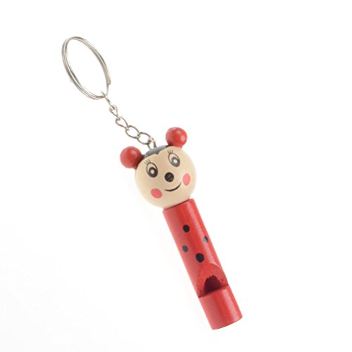 Toyvian Holz Pfeife Whistle Schlüsselanhänger Pfeife Spielzeug Dekoration (Zufallsmuster)