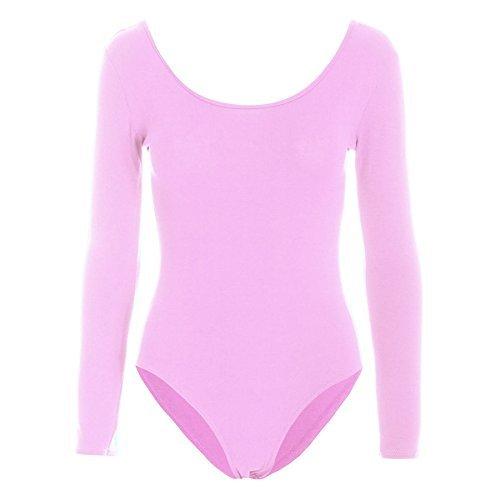 Womens Bodysuit Damen Einfarbiger Langarm Rundhals Trikot Party Body - Babyrosa, Damen, (Rosa Bodysuit)