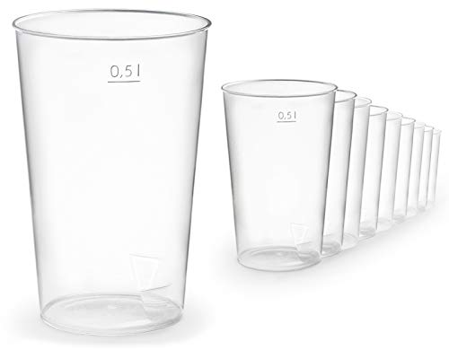 100x Gobelet en plastique de 500 ml vol. en plastique, gobelet en plastique incassable pour tous les événements, petits et grands.