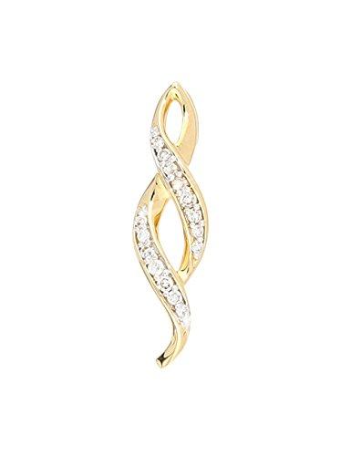 MyGold Diamant-Anhänger (ohne Kette) Gelbgold 585 Gold (14 Karat) Diamanten 0,05 ct. 18mm x 5mm Halskette Damenkette Goldkette Isabelle A-07514-G401-DIA03C/H/P1 Diamant-runder Anhänger