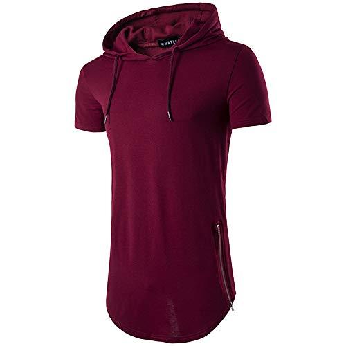 Burgund Kurzarm-shirt (ljradj banxiu Herren Sommer Kapuzen Reißverschluss T-Shirt Burgund L)