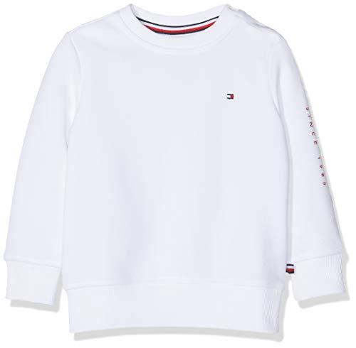 Tommy Hilfiger Baby-Jungen Flags Interlock Crew Sweatshirt, Weiß (Bright White 123), (Herstellergröße:80)