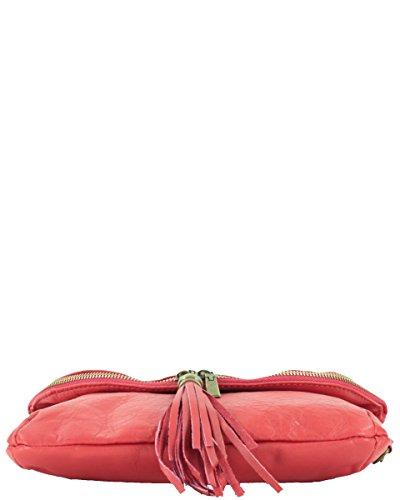 histoireDaccessoires - Borsa a tracolla Pelle Donna - SA148333GU-Lino Rosso