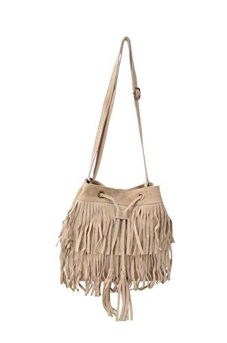 sac bandoulière format seau à franges en cuir façon daim, fabriqué en Italie taupe