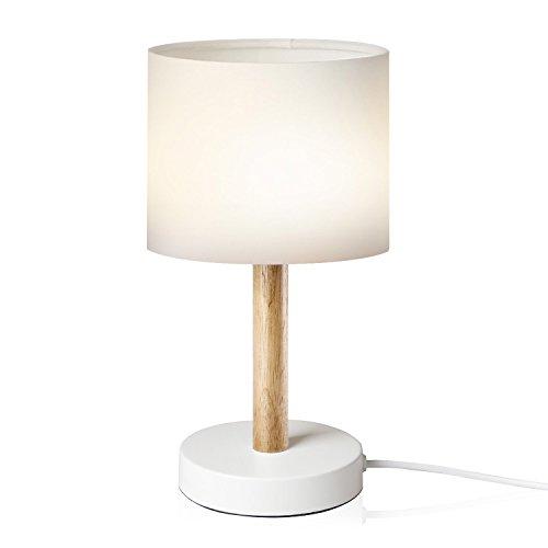 Viugreum Nachttischlampe Schreibtischlampe Atmosphärelapen aus Massivholz gemachtem Lampenfuß und Stofflampenschirm, ideale Beleuchtung für Schlafzimmer, Wohnzimmer, Bettschrank,Kaffeetisch (weiß)