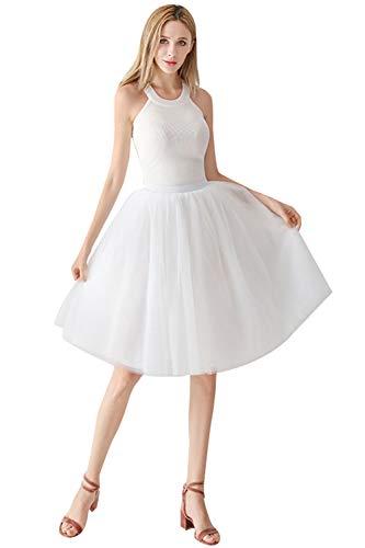 MisShow Damen Tüll Rock 4 Layer Petticoat Unterrock Tutu Röcke Ballett Puff Rock für Tanz Party Bühnen Kostüm Show und Cosplay Rock Weiss Tutu Puff