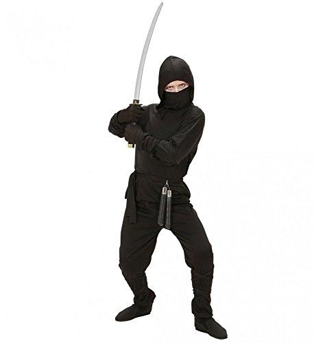 Und Junge Mädchen Ninja Kostüm - 5-teiliges Ninja Kostüm für Jungen schwarz Kinder Samurai Kämpfer Teenager, Kindergröße:158