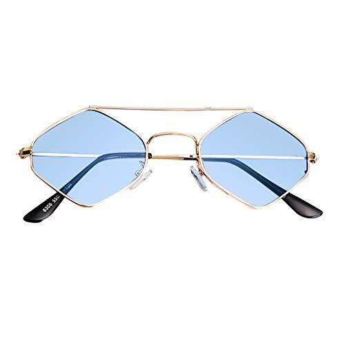 fazry Damen Jahrgang Eng Katzenauge Zweistrahl Diamant Metall Rahmen Sonnenbrille Brillen(Blau)