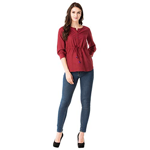 GMI Beautiful Green Exclusive Cotton Slub Womens Top Length 26 Inches (Maroon, XX-Large)