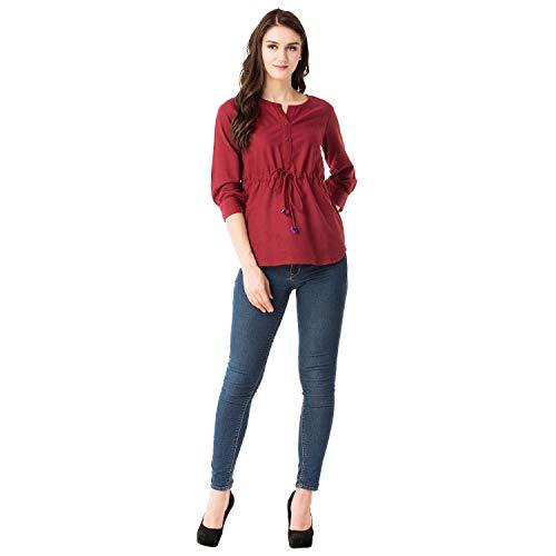 GMI Beautiful Green Exclusive Cotton Slub Womens Top Length 26 Inches (Maroon, Medium)