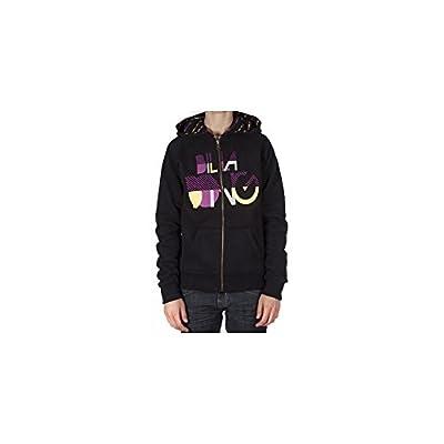 Sweatshirt réversible zippé à capuche pour femme de la marque Billabong. Lettres brodées. Coloris: noir/violet/jaune.