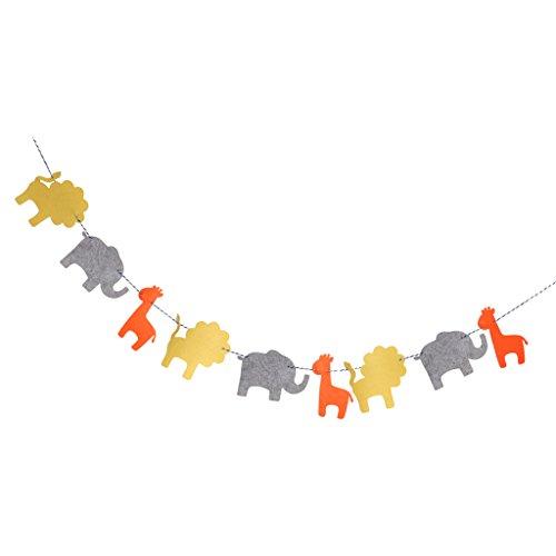 MagiDeal Bandera Guirnalda Forma de Animales Jirafa Elefante León de Fiesta de Bienvenida al Bebé Decoración Colgando de Cumpleaños