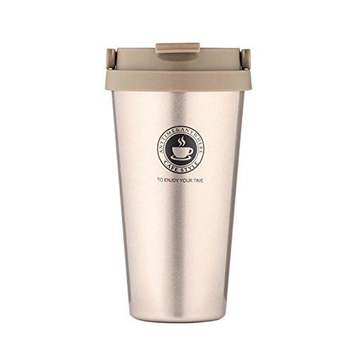 Tasse à café, à l'intérieur et à l'extérieur en acier inoxydable 304, tasse à double tasse d'isolation sous vide ( Capacity : 500ml , Color : Pearlescent Gold )
