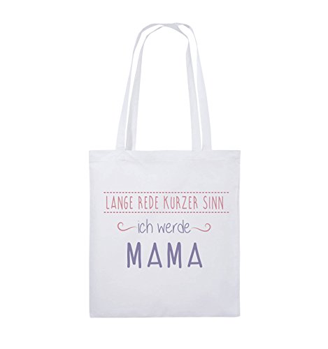 Comedy Bags - Lange Rede kurzer Sinn, ich werde Mama. - Jutebeutel - lange Henkel - 38x42cm - Farbe: Schwarz / Weiss-Neongrün Weiss / Rosa-Violet