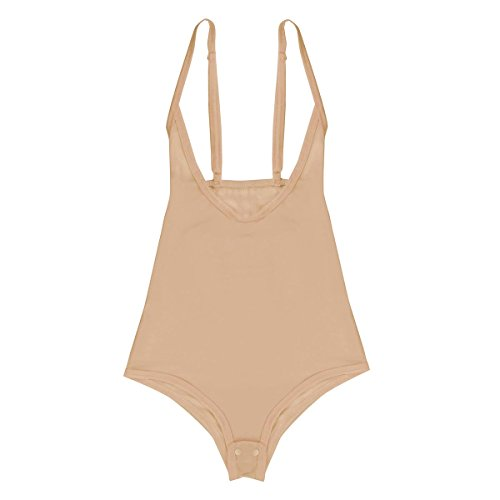 iEFiEL Transparent Mesh Damen Body Spaghettiträger Top Unterhemd Bodysuit Brustfrei Gogo Clubwear Belly Dance Tanzanzug Nackt One Size (Nackt Body Kostüm)