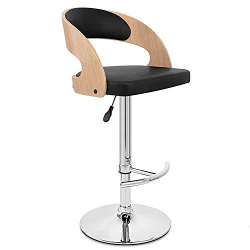 ZHAOYONGLI-Stühle,Hocker Barhocker Durable Bar Stühle Holz Swivel Metall Chrome Base Gaslift Höhenverstellbar (Farbe : Wood Color+Black, größe : 41*(58-80) cm) - Chrom-holz-finish Bar Hocker